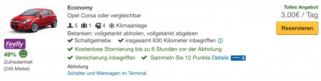 Mietwagen für 3 Euro