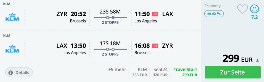 Brüssel - Los Angeles nur 299 Euro