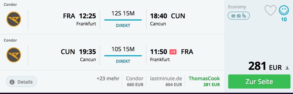 Flug Frankfurt - Cancun, 21.01. - 27.01.2018
