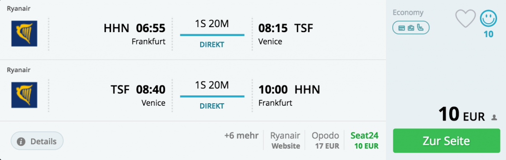 Beispielbuchung: Frankfurt - Venedig-Treviso, 20.01. - 02.02.2018