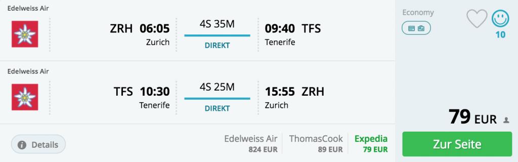 Für 79 Euro nach Teneriffa