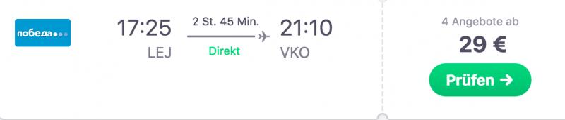 Für nur 29 Euro nach Moskau!
