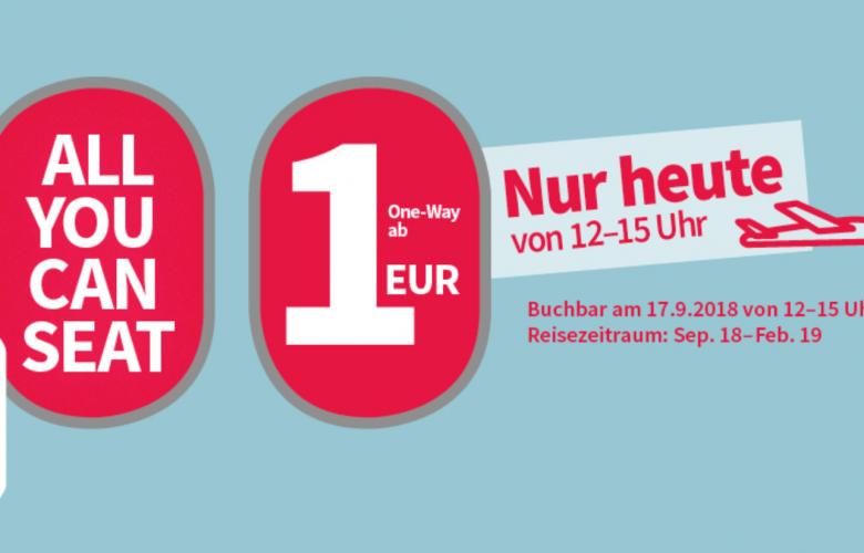 Nur heute: Laudamotion-Flüge für 1 €!