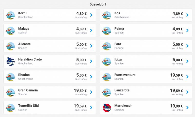 Ab 5 Euro von Düsseldorf fliegen