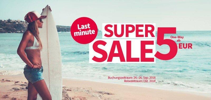 Super Sale: Flüge ab 5 Euro!