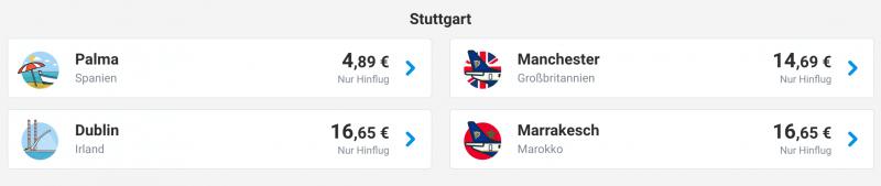 Ab Stuttgart für 5 Euro fliegen!