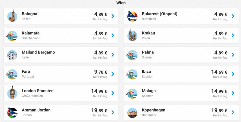 Ab Wien für 5 Euro fliegen!