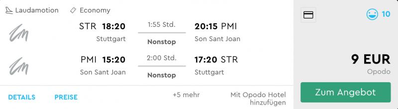 Stuttgart - Palma nur 9,- €