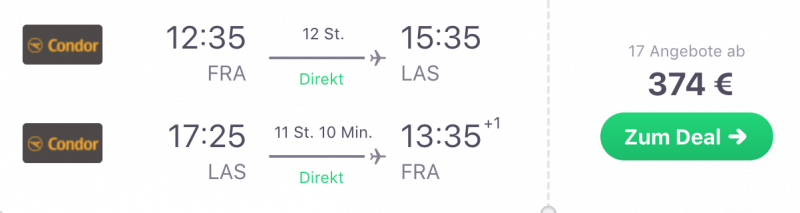 Günstig von Frankfurt nach Las Vegas