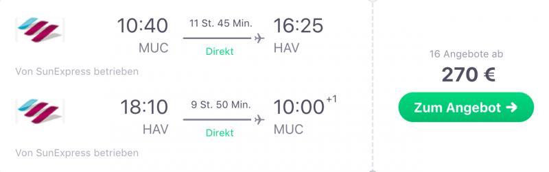 Günstig von München nach Havanna!