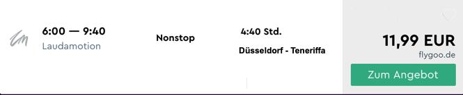 Billigflug von Düsseldorf nach Teneriffa