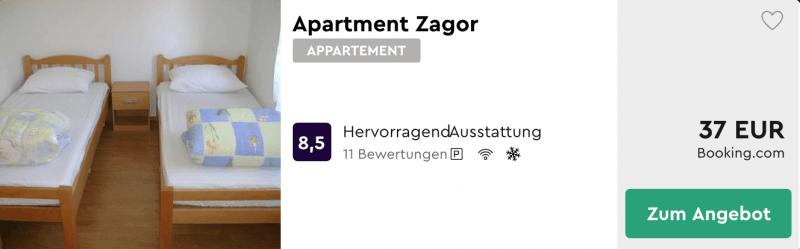 Apartment Zagor, eine Woche nur 38 Euro
