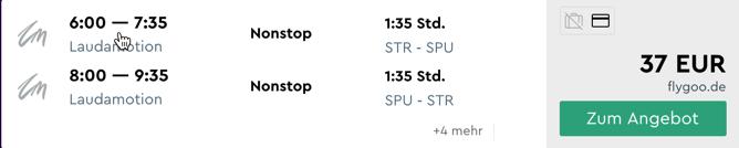 Stuttgart - Split für nur 37 Euro